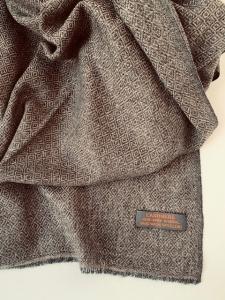 Kašmírový šál hnedý vzorovaný