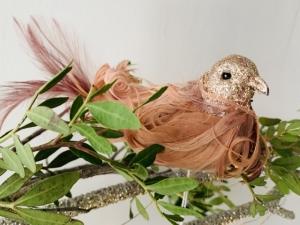 Vtáčik na štipci pierkový rúžový