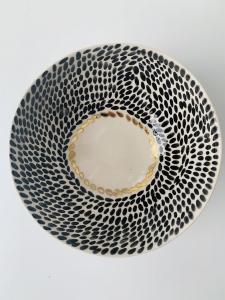 Keramická miska S šedá+čierne bodky
